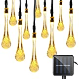 Vmanoo Christmas Decorative Solar Powered Lights, 30 LED 19.7ft 8 Modes Water drop Fairy String light for Outdoor Indoor Home Patio Lawn Garden Xmas Party Wedding Holiday Valentines Gift (Warm White)