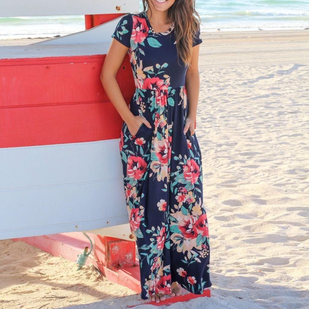 Mujer Vestido verano, Sonnena ❤ ❤ Floral impresión multicolor vestido manga corta para sexy prime mujer El encanto de las mujeres maduras blusa de ...