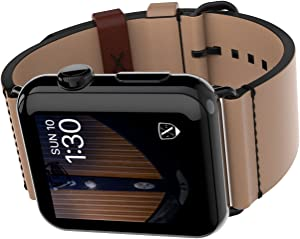 LUXEORA Element Leather Band Strap with Black PVD Stainless Steel Buckle - 44/42mm - Sepia Tan - Compatible with Apple Watch Series 5 4 3 2 1 Sport and Watch Edition