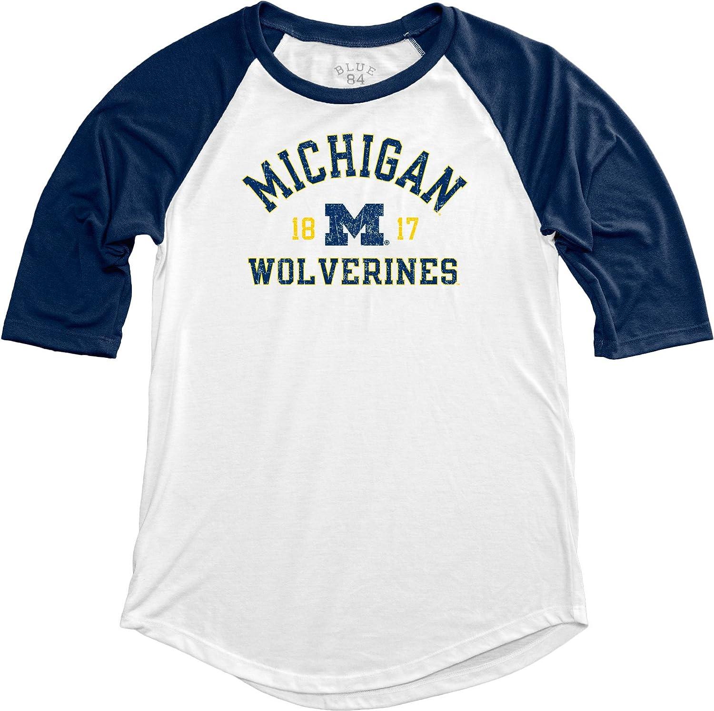 NCAA Michigan Wolverines Adult Women NCAA Womens Teagan Baseball Tee,Medium,Navy
