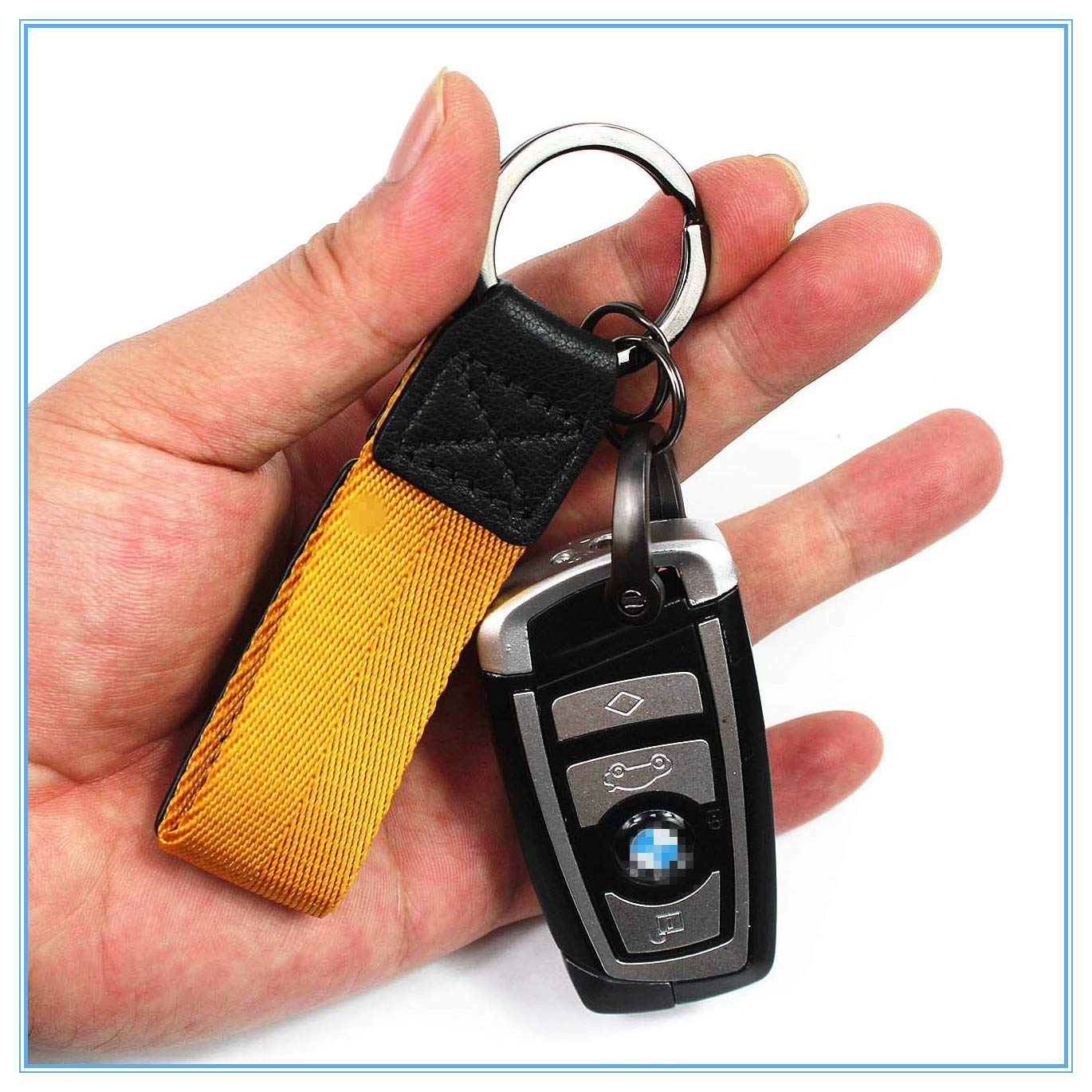 LXFF Genuine Leather Valet Keychain Car Key Chain Key fob Ring for Men Women in Gift Box
