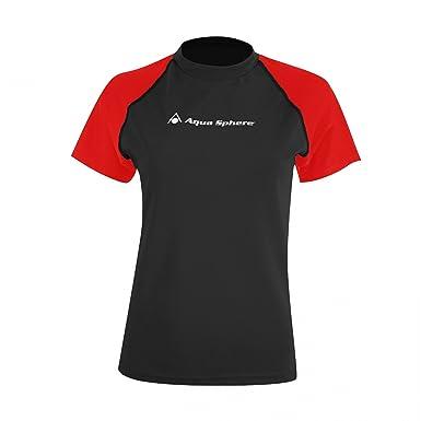 96b91225e5899 Aqua Sphere - T-shirt anti-UV - Fille (12 ans) (Noir Rouge)  Amazon.fr   Vêtements et accessoires