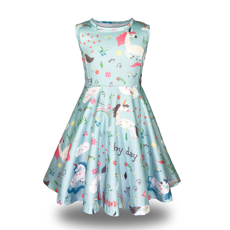 Minilove Gilrs Unicorn Rainbow Dress(5,Unicorn)