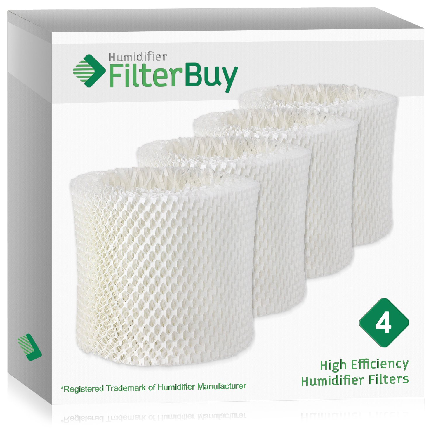 FilterBuy Replacement Humidifier Wick Filters Compatible with WF2 Kaz & Vicks. Pack of 4.