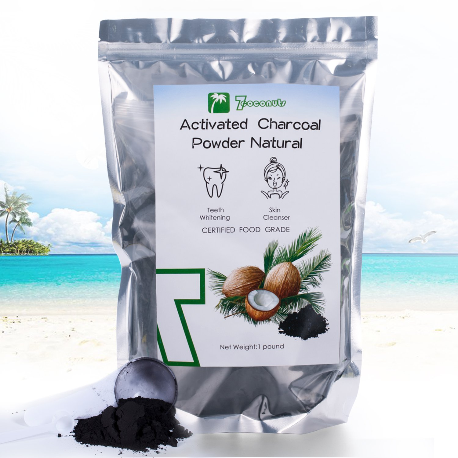 (1 pound) Activated Charcoal Powder 16OZ Natural Coconut Teeth Whitening Face Body Mask Food Grade