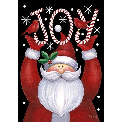 toland home garden santa joy 28 x 40 inch decorative winter christmas holiday candy cane double
