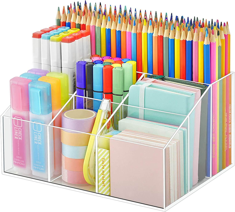 Vitviti Acrylic Pen Holder, Clear Desk Organizer, Pen Organizer for Desk, 7 Compartments Desk Pencil Holder, Desktop Stationery Organizer for Office Storage/School/Home/Art Supplies