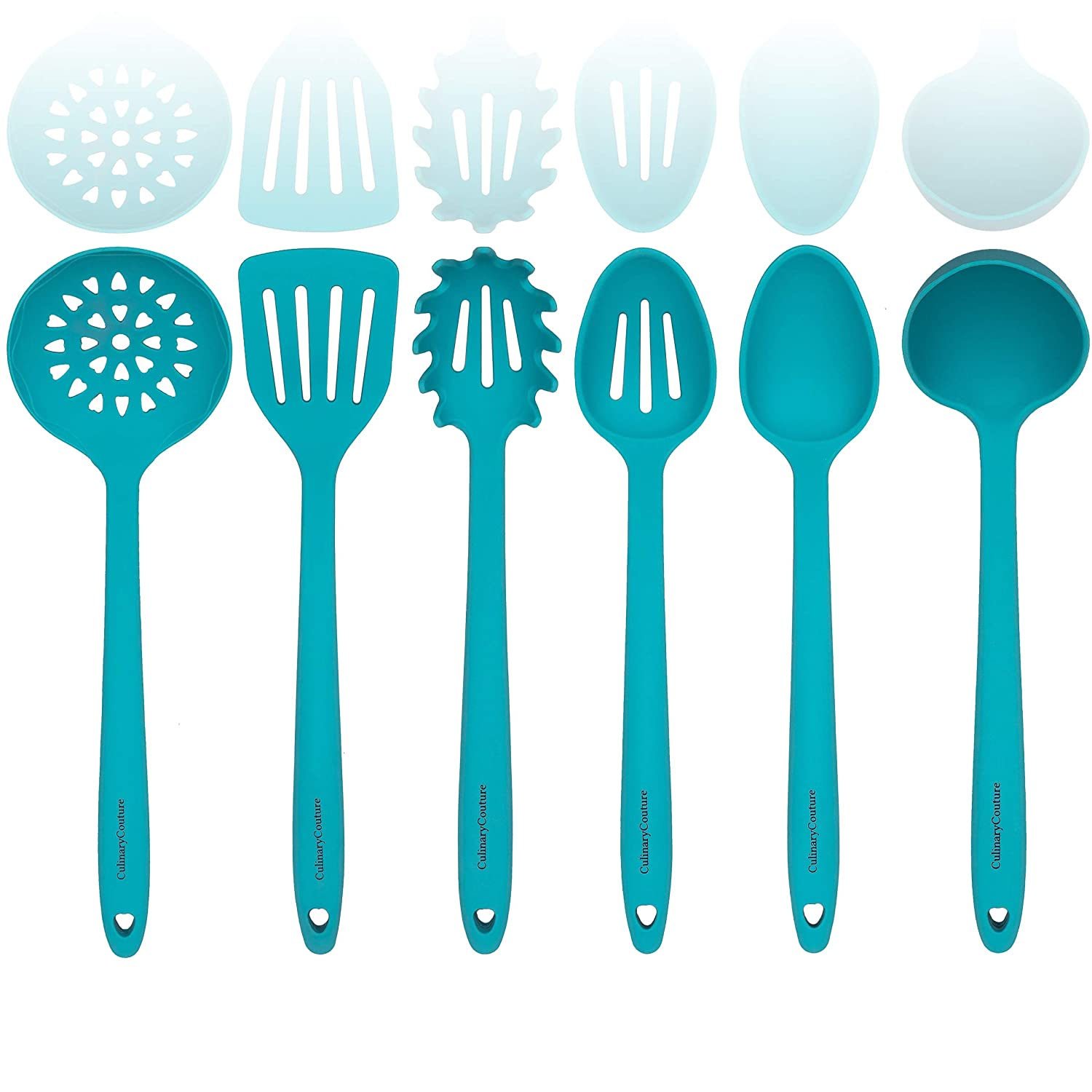 Aqua Sky Silicone Cooking Utensils Set – Sturdy Steel Inner Core – Spatula, Mixing & Slotted Spoon, Ladle, Pasta Server, Drainer – Heat Resistant Kitchen Tools - Bonus Recipe Ebook