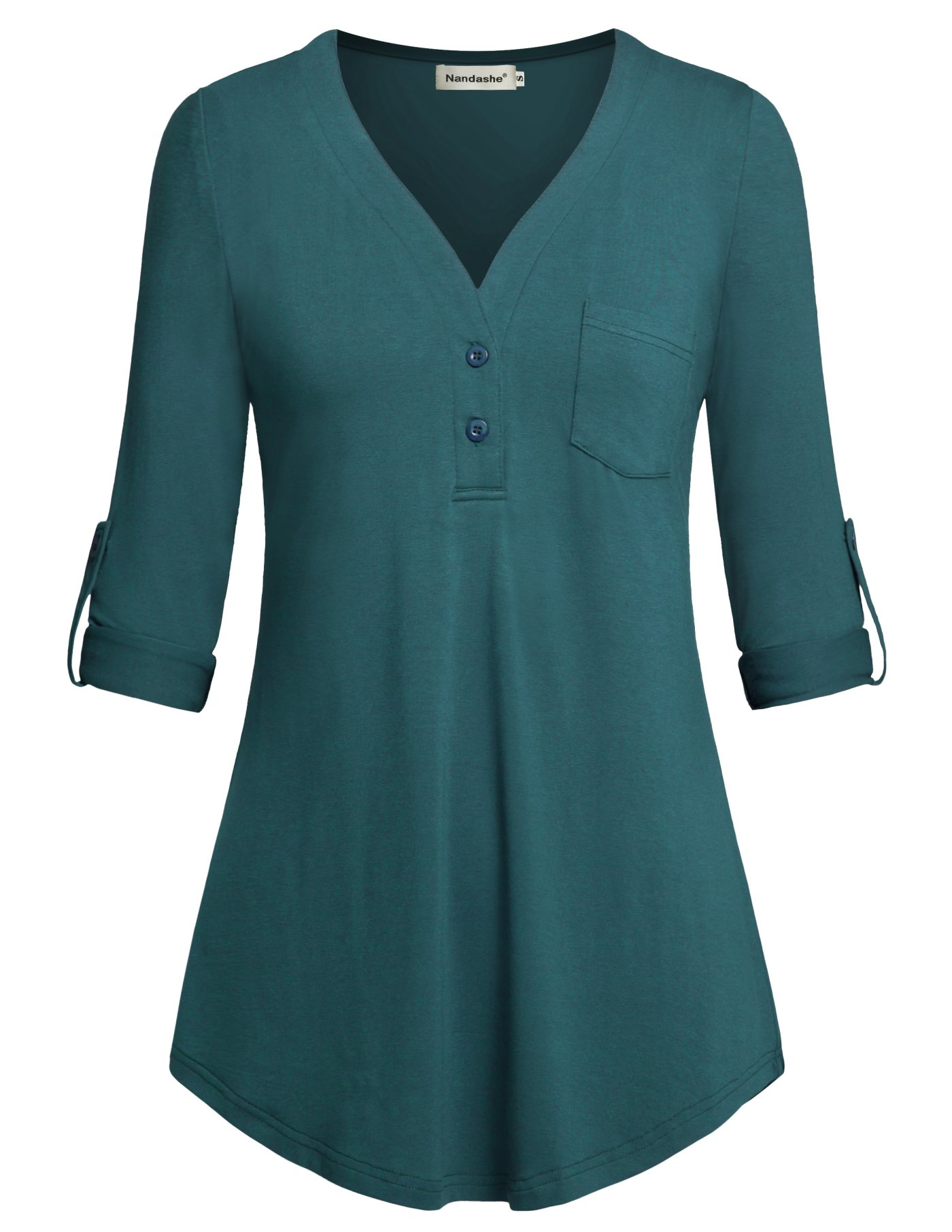 Nandashe Button Down Shirts for Women, Modest Misses Casual Deep Split V Neck Elbow Length Sleeves Ruffle Flared Long Shirts Professional Business Office Tunic Basic Blouses for Comapany Aqua m