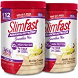 SlimFast – Advanced Nutrition High Protein Smoothie Powder – Meal Replacement – Vanilla Cream – Great Taste – Great for Recipes – 11 oz. Canister - Pack of 2