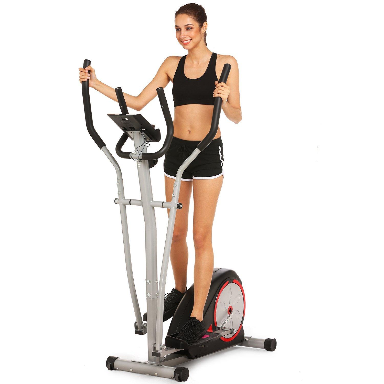 Simpfree Elliptical Machine Trainer Magnetic Smooth Quiet Driven, Top Levels Elliptical Trainer (Black)