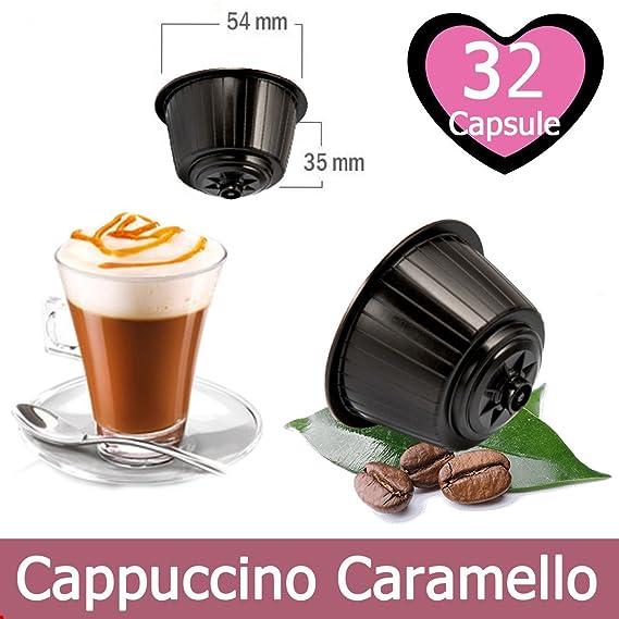 32 Cápsulas de Cappuccino Caramel Compatible Nescafe Dolce Gusto - Bebida Soluble Compatible con Cafetera Dolce