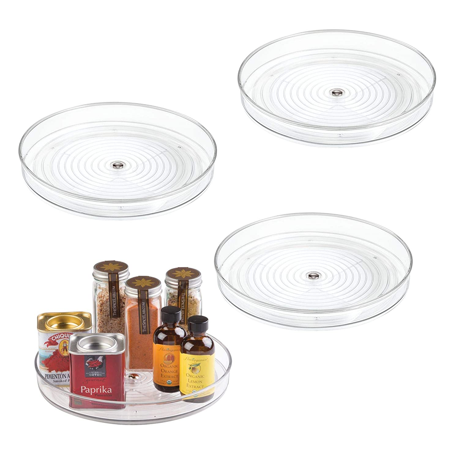 "mDesign Lazy Susan Turntable Food Storage Container for Cabinets, Pantry, Refrigerator, Countertops, BPA Free - Spinning Organizer for Spices, Condiments, Baking Supplies - 9"" Round, Pack of 4, Clear MetroDecor"