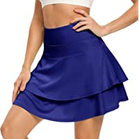 WOWENY Women's Active Skort Athletic Ruffle Pleated Tennis Skirt with Pocket for Running Golf Workout