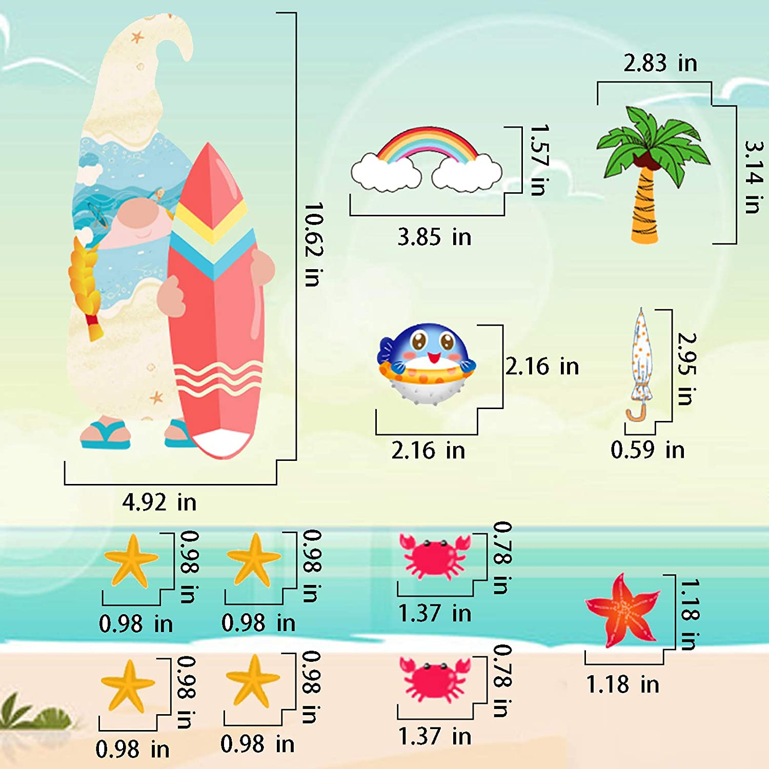 Hello Summer Gnome Window Stickers Decals for Hawaii Luau Flamingo Aloha Party Supplies Home School Classroom Decorations 9 Sheets Hawaii Gnome Window Cling Decorations