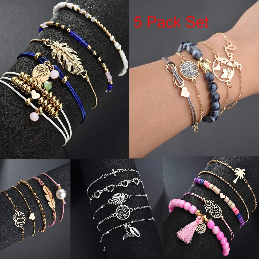 e8de0ce0be99c yunanwa 5 Pack (25pcs) Multilayer Bohemian Beaded Bangle Bracelet Crystal  Charm Stretch Beach Set Boho Holiday Jewelry