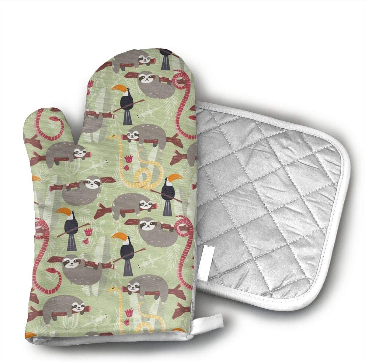 EROJfj South American Snake and Sloth Animals Oven Mitts and Potholders BBQ Gloves-Oven Mitts and Pot Holders Non-Slip Cooking Gloves for Cooking Baking Grilling