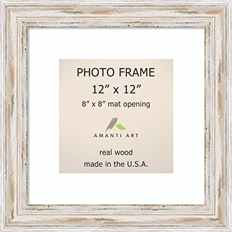 Amazon.com: Picture Frame, 12x12 Matted to 8x8 Alexandria White Wash ...
