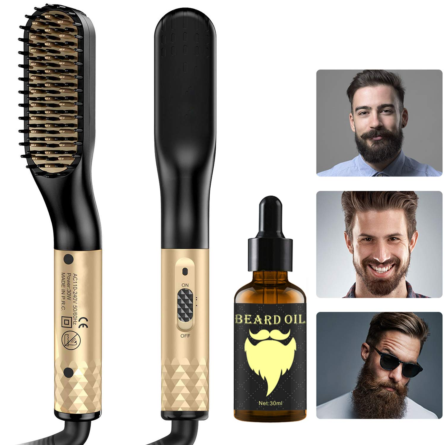 Beard Straightener, Hair Straightener Brush, Quick Electric Heated Hair Comb Kit with Beard Oil, Hot Ionic Hair Straightening Comb, Great Gift for Men