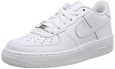 premium selection d1848 549b0 Nike Kids Air Force 1 (GS) White White White Basketball Shoe 6