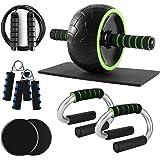 Odoland - Juego de rodillos de rueda 6 en 1 AB con barras de empuje hacia arriba, discos deslizantes, cuerda de saltar para e