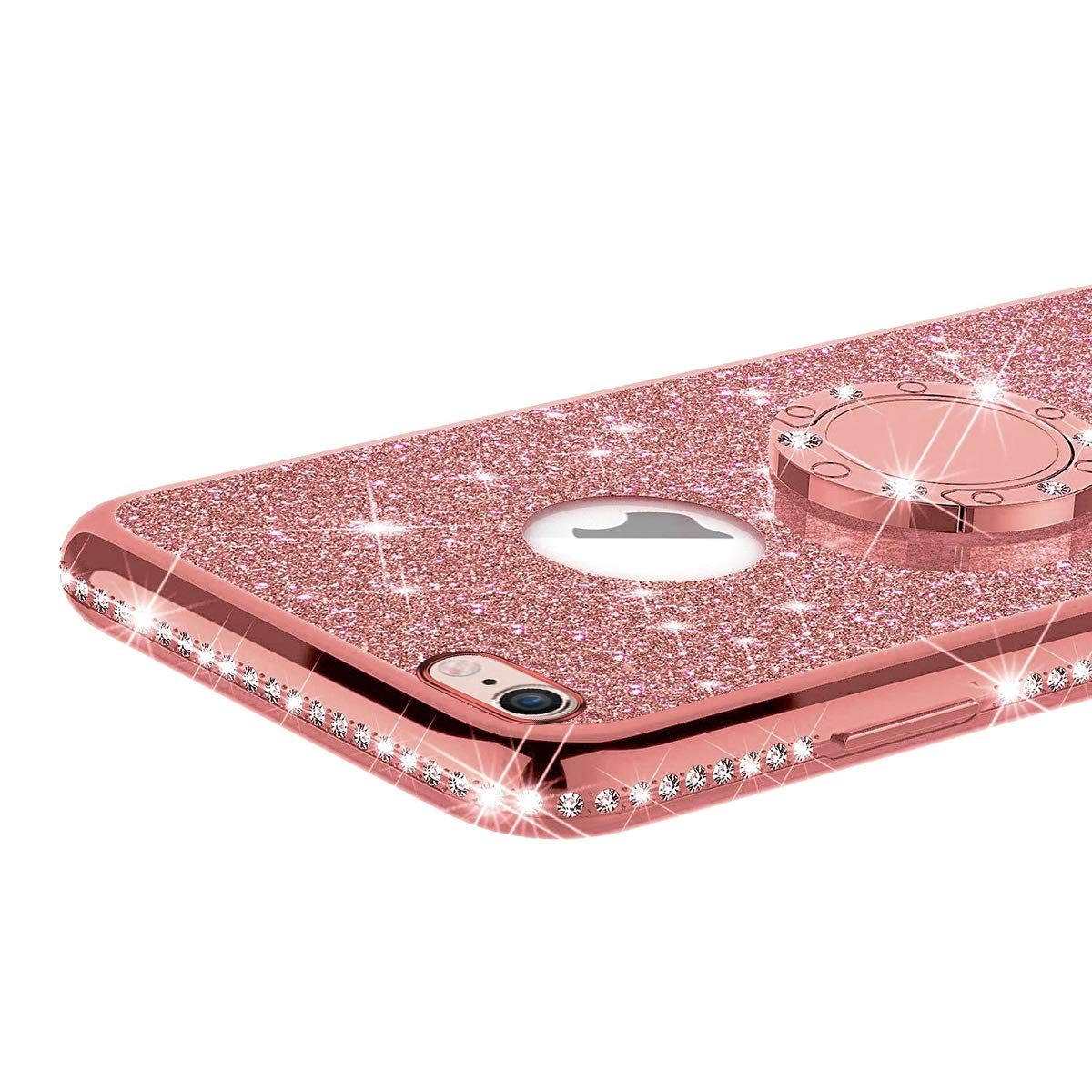 ikasus Case for iPhone 6S Plus//iPhone 6 Plus Glitter Case,Sparkly Glitter Bling Diamond Rhinestone Bumper with Ring Kickstand Flexible Soft Rubber Gel TPU Protective Case Cover for Girl Women,Purple