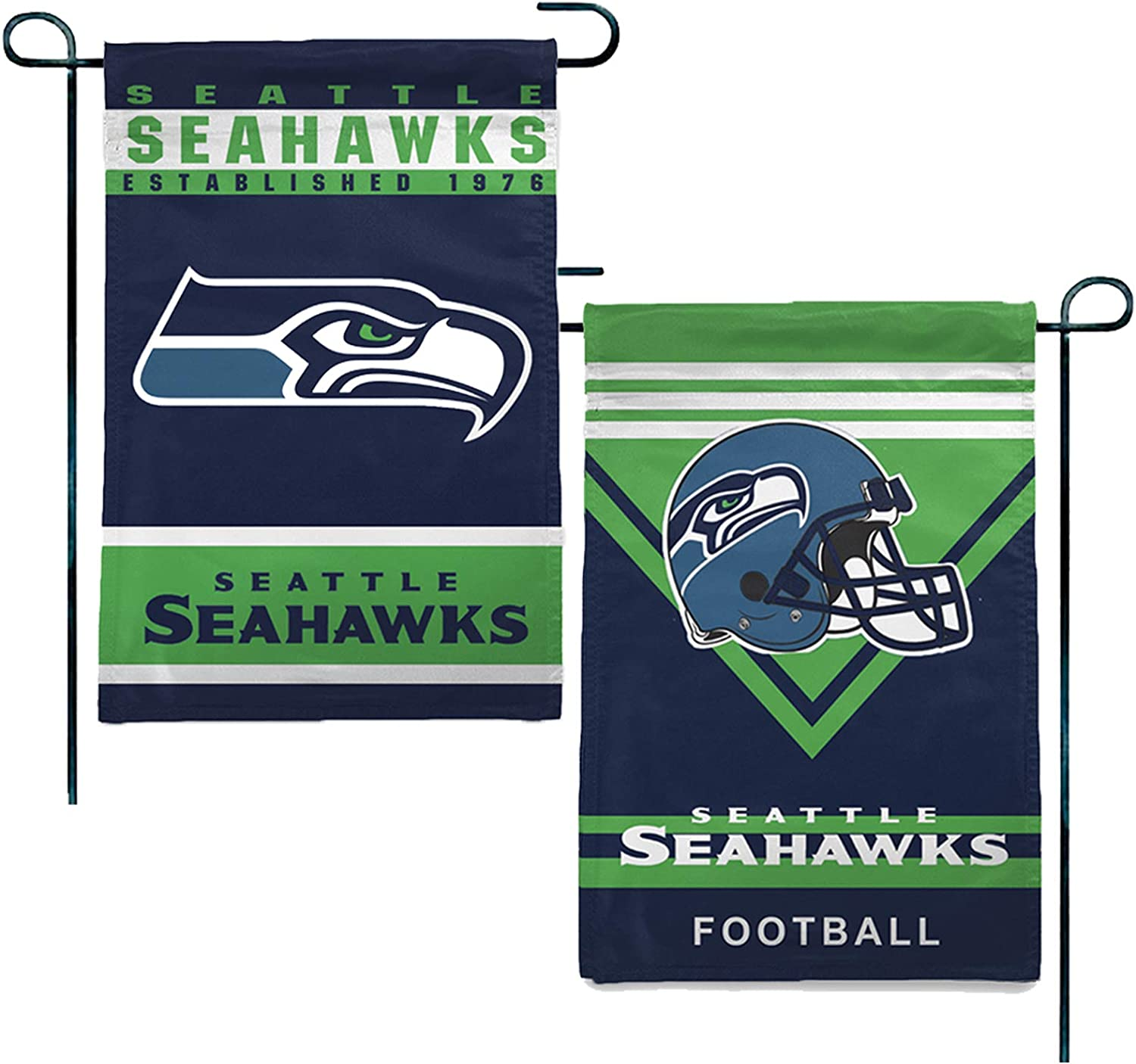 Seattle Seahawks Double Sided Football Garden Flag Sports Stripes Flags for House Decor 12.5x18 in