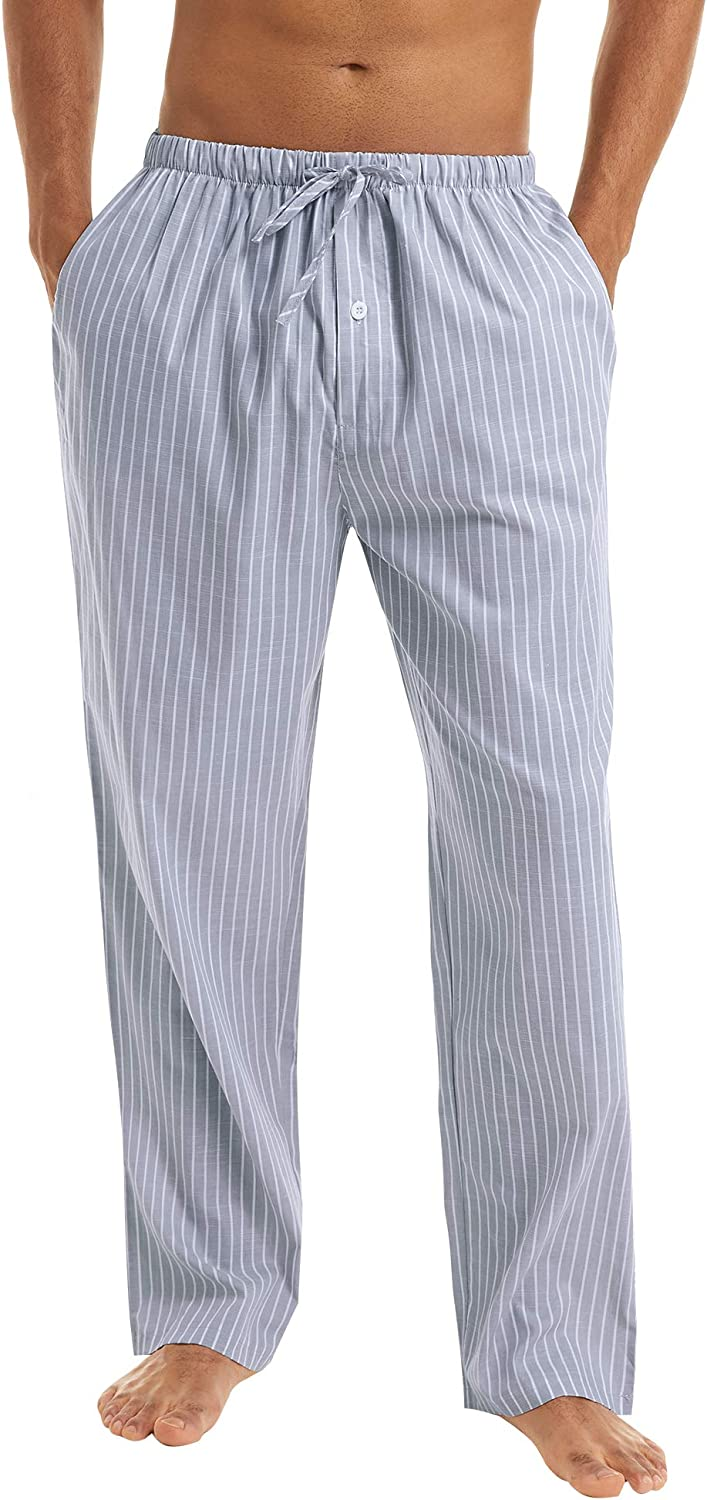 Irevial Mens Stripe Pyjama Bottoms 100/% Cotton Casual Trousers Nightwear Lounge Pants with Pockets Drawstring