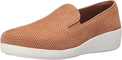 FitFlop Womens F-Pop Skate Perf Tan Slip-On - 5