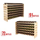 4 Family Wine Rack Stackable Storage 7 Tier Solid