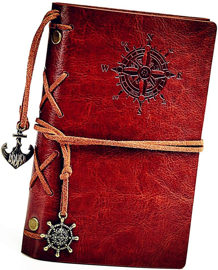 Cuaderno retro, libreta cuero, A6 diario de Viaje, HRYSPN de la PU Cuaderno Agenda, Bloc de Notas, Pirata Náutico Revista Timón de Cuerda.(130x185mm, Marrón)