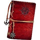 Journal en cuir ordinateur portable, carnet à spirales rechargeable HGHC rechargeable Journal de voyage en relief classique avec pages vierges et pendentifs vintage 18.5 * 13CM