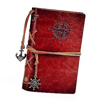 HGHC Retro Vintage Ubierta de Cuero de la PU Cuaderno Agenda Bloc de Notas Pirata Náutico Revista Diario Timón de Cuerda, Notebook Libreta Mano ...
