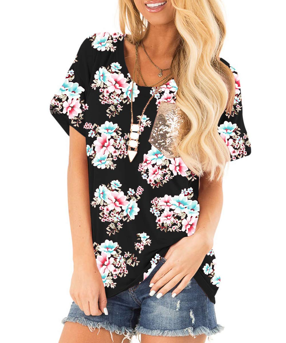 deesdail Floral Tunics for Women, Ladies Round Neck Short Sleeve Summer Tee Shirts Relaxed Fit Flower Patterned Cotton Knit Tops Black XL