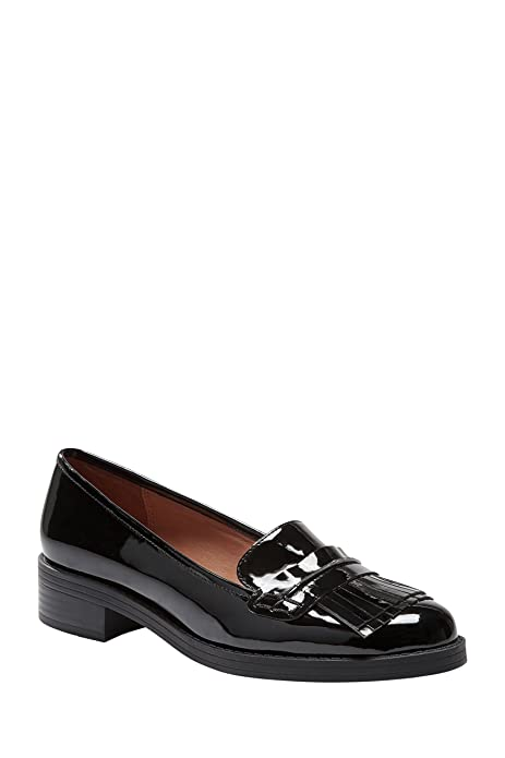 next Mujer Zapatos Zapatillas Mocasines Con Adorno De Flecos De Charol: Amazon.es: Zapatos y complementos