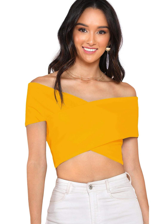 Yellow Romwe Women's Off The Shoulder V Neck Criss Cross Wrap Bardot Crop Top