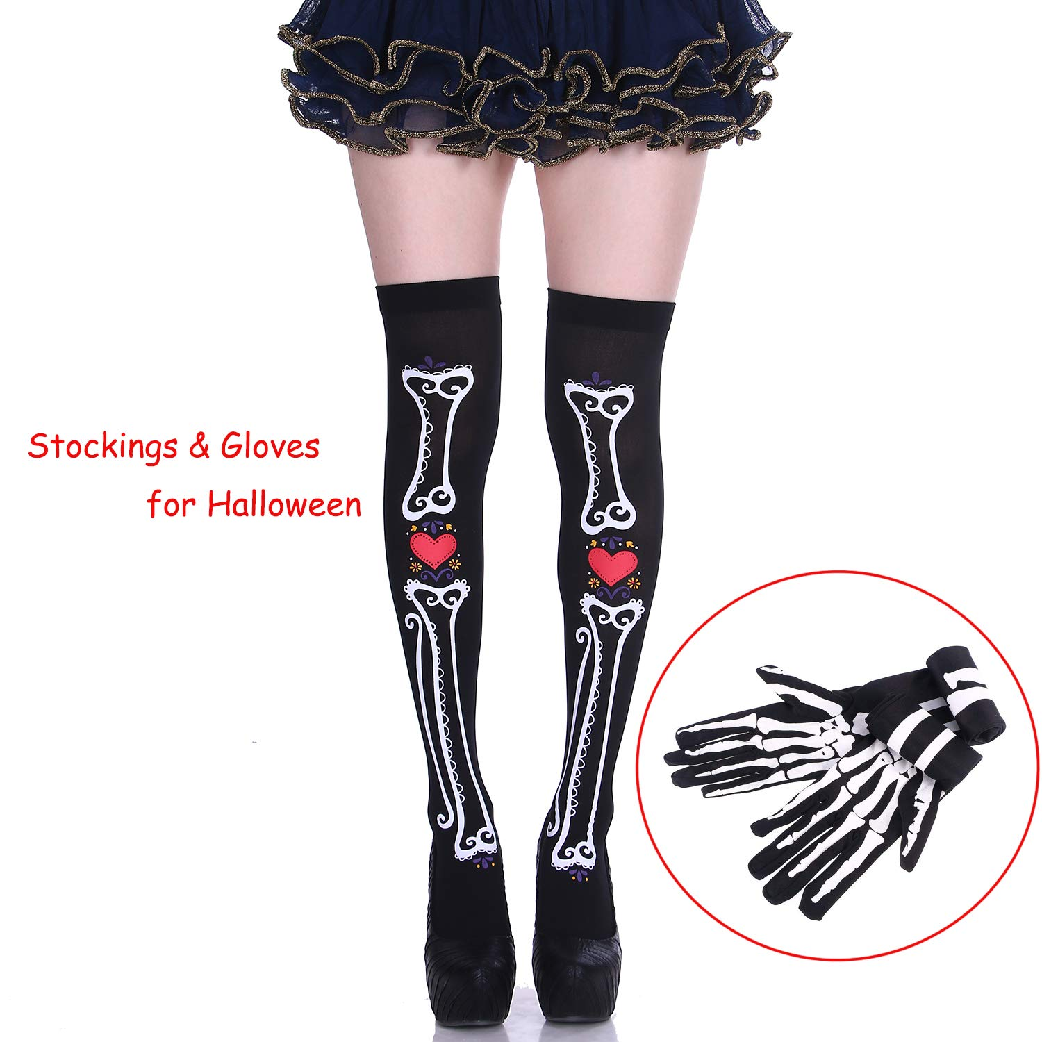 Halloween Party Costume Cosplay Thigh High Hosiery Socks & Mitten Gloves Set for Women Girl