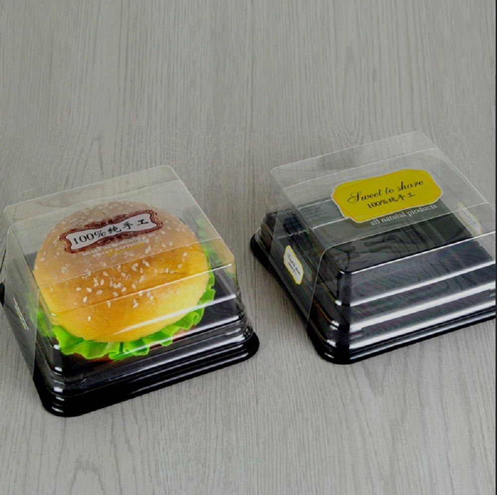 Cake Box - 4'' Transparent Plastic Mini Cake Box - Feast Cupcake Box - Muffin Box Biscuit Box Flat Top Box Bakery Cake Shop Sale Use (black) by Hewnda (Image #6)