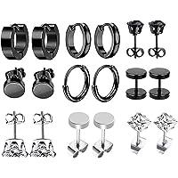 JZZJ 9 pares Pendientes de acero inoxidable Pendientes de aro pequeños Clásico Circón Pendientes de oreja Joyas Pendien…