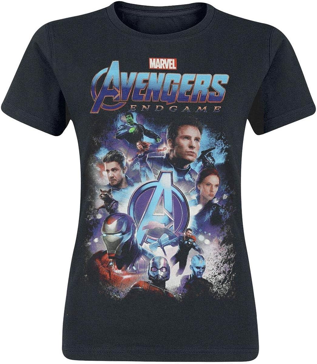 Avengers Camiseta para Mujer Endgame Collage Marvel Cotton Black: Amazon.es: Ropa y accesorios