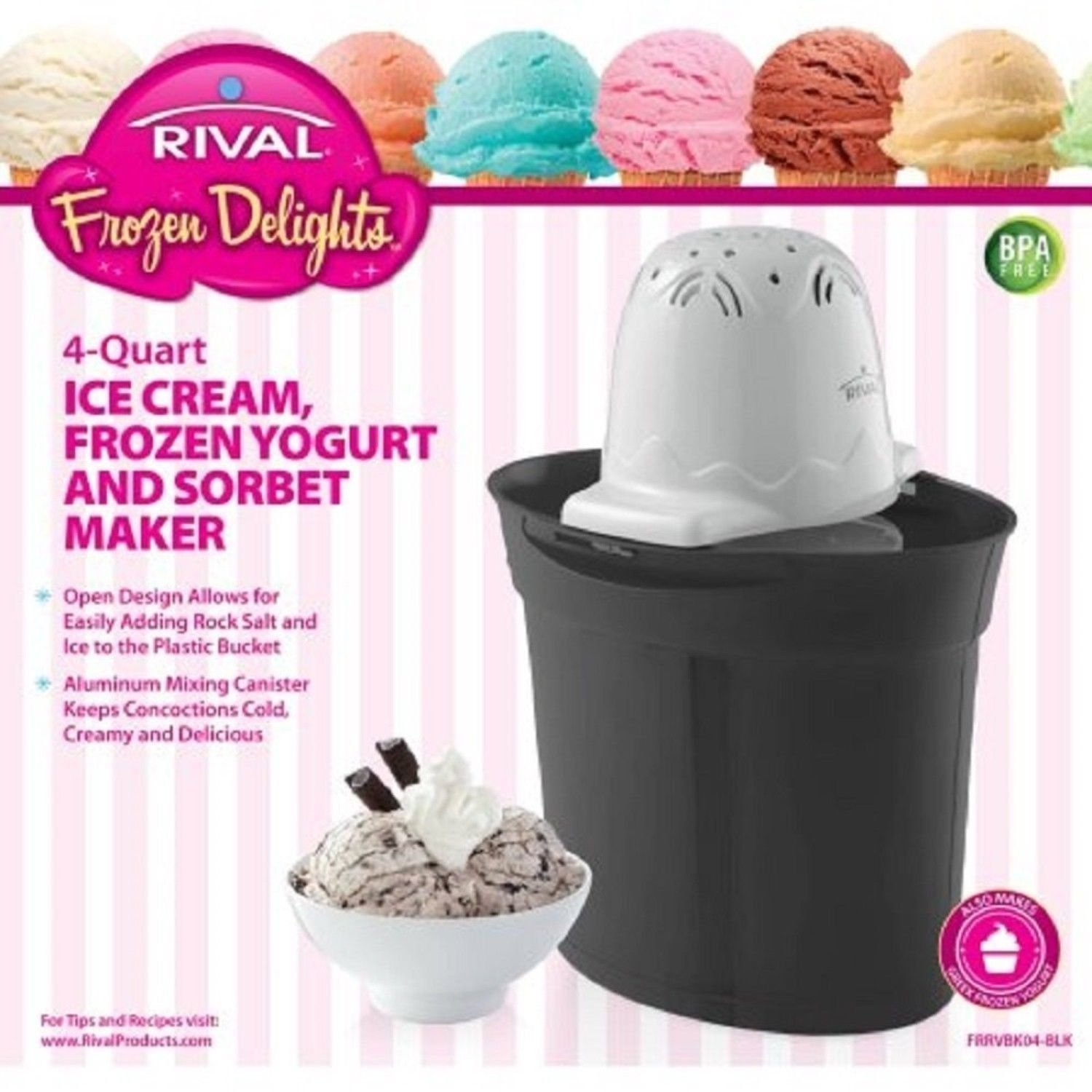 Rival Frozen Delights 4 Quart Ice Cream Maker - BLACK