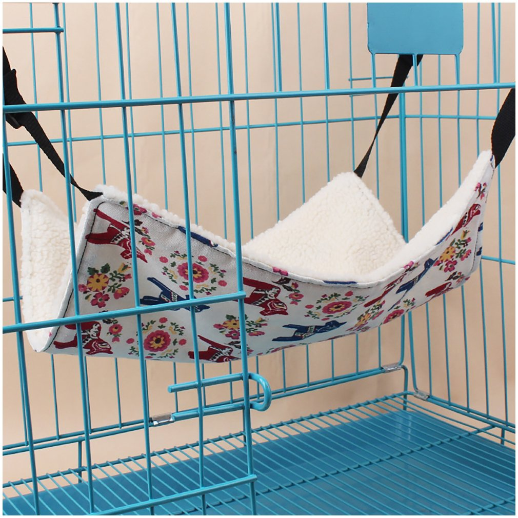 Suicazon Pet Hammock Winter Summer Double Sided Use Kitty Hanging Bed Pad Cage, Random Color