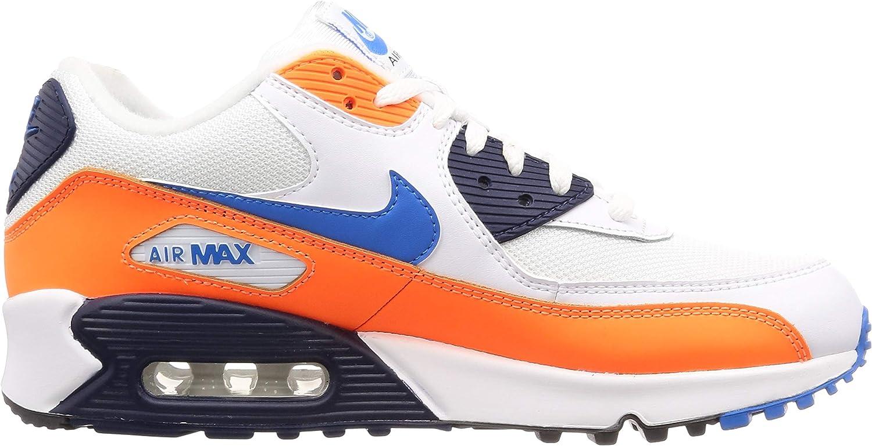 Nike Men's Air Max 90 Essential Track & Field Shoes Multicolour White Photo Blue Total Orange 104