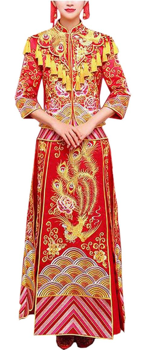 Smeiling Womens Red Chinese Style Cheongsam Embroidery Tassels Wedding Dress Red S
