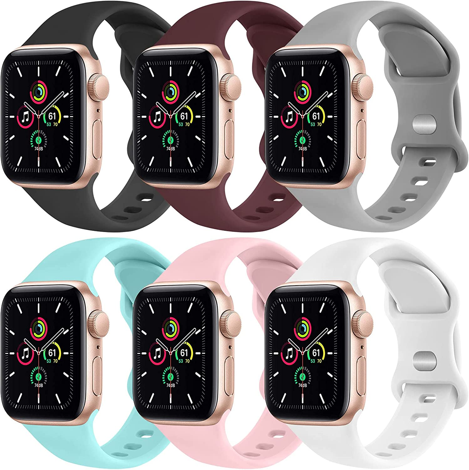 [6 Pack] Yisica Silicone Bands Compatible with Apple Watch Band 38mm 40mm for Men Women, Sport Wristbands for iWatch Series SE/6/5/4/3/2/1