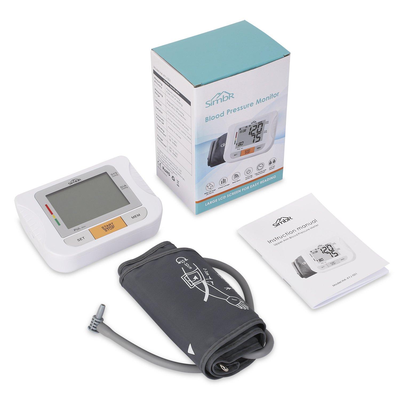 SIMBR - Tensiómetro electrónico y automático de brazo con gran pantalla LCD, memoria para registro de 180 datos de 2 usuarios y manguito de 22 a 32 cm: ...