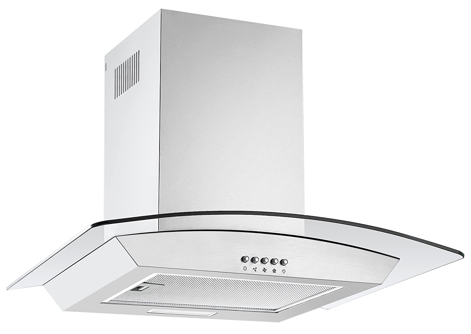 Cookology CGL600SS Designer Extractor | 60cm Curved Glass Chimney Cooker Hood in Stainless Steel
