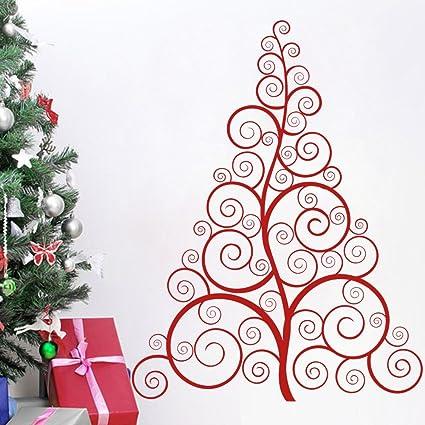 christmas tree wall decal vinyl christmas tree decor merry christmas sticker swirly christmas tree home art
