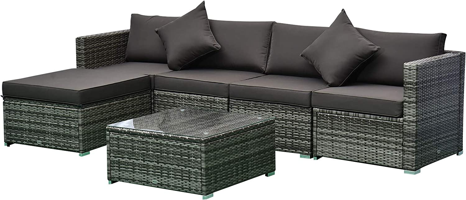 Outsunny 6-Piece Outdoor Patio Rattan Wicker Furniture Set with Comfortable Cotton Cushions, Removable Covers, Charcoal