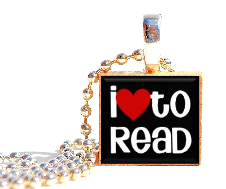 Pendants by Prestarri Handmade I Love to Read Wooden Scrabble Tile Charm Necklace Pendant